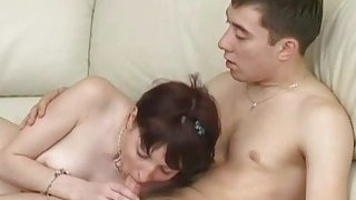 Young Sex Parties  Great threesome fuck on a new leather couch