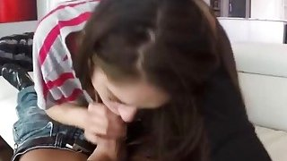 Lusty teens caught in the oral act by horny stepmom