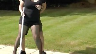 Blonde granny gives blowjob to horny pool boy