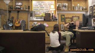 Pretty babe gets banged at the pawnshop