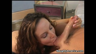 Lovely mom Paige Rene blows young dick and gets her milf pussy eaten