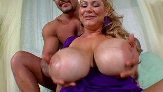Freaky and beautiful milf Samantha 38G shows off her jumbo boobs