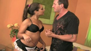 Gorgeous housemaid Jynx Maze on her knees sucking cock of Lee Stone