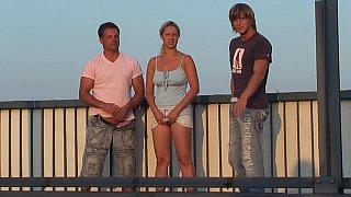 Hot threesome on railway bridge
