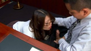 Classy japanese whore Ibuki gets some other office skills on sucking boss' dick
